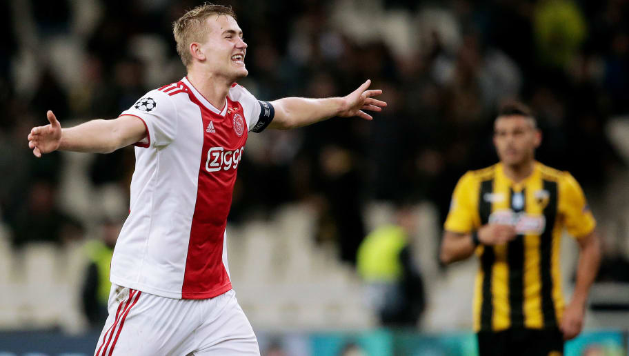 ATHENS, GREECE - NOVEMBER 27: Matthijs de Ligt of Ajax celebrates the victory  during the UEFA Champions League  match between AEK Athene v Ajax at the Olympisch Stadion Spyridon Louis on November 27, 2018 in Athens Greece (Photo by Erwin Spek/Soccrates/Getty Images)