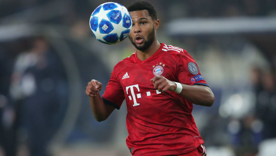 ATHENS, GREECE - OCTOBER 23:  Serge Gnabry  of Bayern Muenchen runs with the ball during the Group E match of the UEFA Champions League between AEK Athens and FC Bayern Muenchen at Athens Olympic Stadium on October 23, 2018 in Athens, Greece.  (Photo by Alexander Hassenstein/Bongarts/Getty Images)