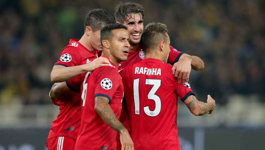 ATHENS, GREECE - OCTOBER 23:  Javier Martinez (2nd R) of Bayern Muenchen celebrates scoring the opening goal with his team mates during the Group E match of the UEFA Champions League between AEK Athens and FC Bayern Muenchen at Athens Olympic Stadium on October 23, 2018 in Athens, Greece.  (Photo by Alexander Hassenstein/Bongarts/Getty Images)