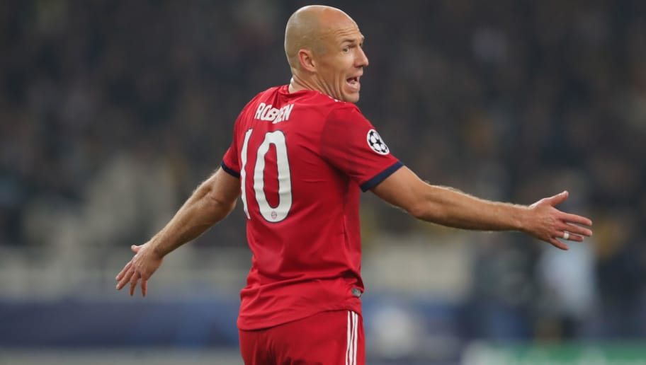 ATHENS, GREECE - OCTOBER 23:  Arjen Robben of Bayern Muenchen reacts during the Group E match of the UEFA Champions League between AEK Athens and FC Bayern Muenchen at Athens Olympic Stadium on October 23, 2018 in Athens, Greece.  (Photo by Alexander Hassenstein/Bongarts/Getty Images)