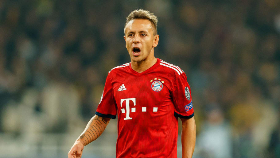 ATHENS, GREECE - OCTOBER 23: Rafinha of Bayern Muenchen gestures during the UEFA Champions League Group E match between AEK Athens and FC Bayern Muenchen at Athens Olympic Stadium on October 23, 2018 in Athens, Greece. (Photo by TF-Images/Getty Images)