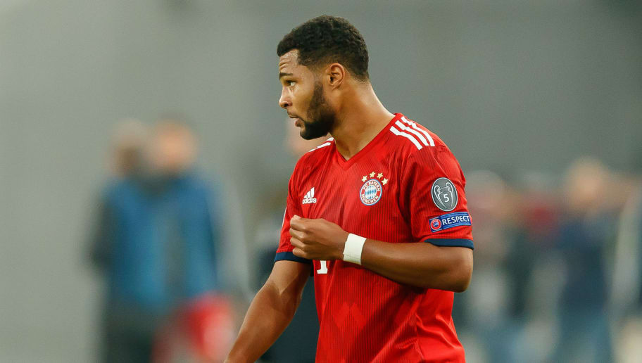 ATHENS, GREECE - OCTOBER 23: Serge Gnabry of Bayern Muenchen looks on during the Group E match of the UEFA Champions League between AEK Athens and FC Bayern Muenchen at Athens Olympic Stadium on October 23, 2018 in Athens, Greece. (Photo by TF-Images/Getty Images)