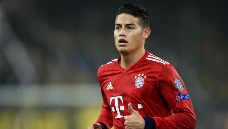 ATHENS, GREECE - OCTOBER 23: James Rodríguez of Bayern during the Group E match of the UEFA Champions League between AEK Athens and FC Bayern Muenchen at Athens Olympic Stadium on October 23, 2018 in Athens, Greece. (Photo by MB Media/Getty Images)
