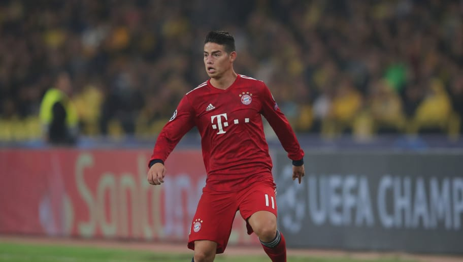 ATHENS, GREECE - OCTOBER 23:  James Rodriguez of Bayern Muenchen runs with the ball during the Group E match of the UEFA Champions League between AEK Athens and FC Bayern Muenchen at Athens Olympic Stadium on October 23, 2018 in Athens, Greece.  (Photo by Alexander Hassenstein/Bongarts/Getty Images)