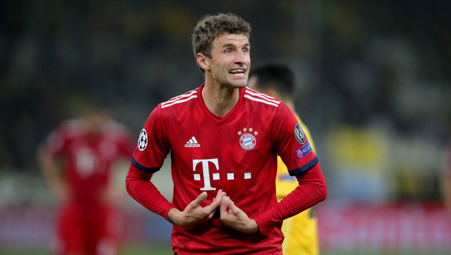 ATHENS, GREECE - OCTOBER 23:  Thomas Mueller of Bayern Muenchen reacts during the Group E match of the UEFA Champions League between AEK Athens and FC Bayern Muenchen at Athens Olympic Stadium on October 23, 2018 in Athens, Greece.  (Photo by Alexander Hassenstein/Bongarts/Getty Images)