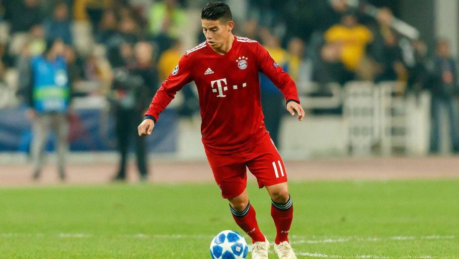 ATHENS, GREECE - OCTOBER 23: James Rodriguez of Bayern Muenchen controls the ball during the Group E match of the UEFA Champions League between AEK Athens and FC Bayern Muenchen at Athens Olympic Stadium on October 23, 2018 in Athens, Greece. (Photo by TF-Images/Getty Images)