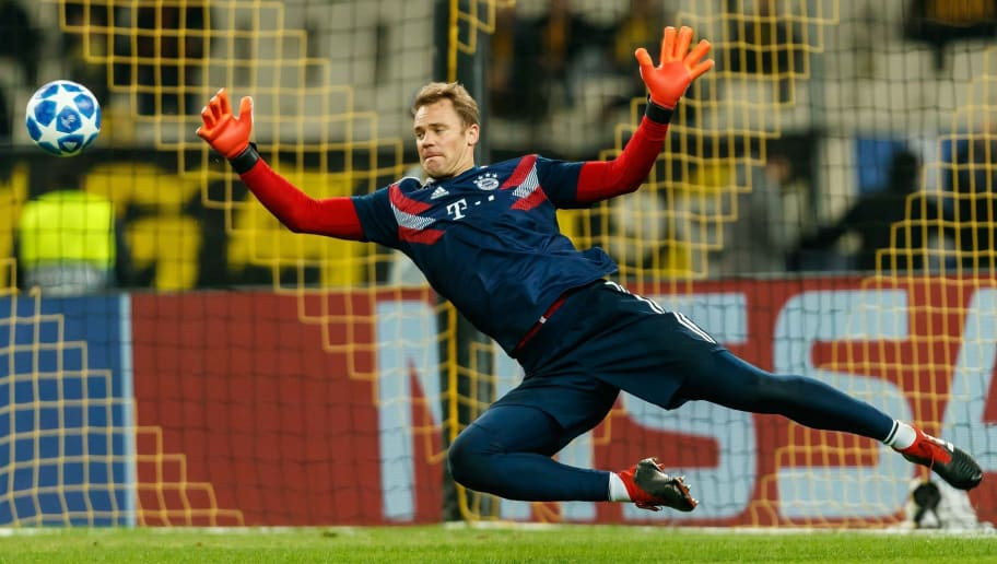 ATHENS, GREECE - OCTOBER 23: Goalkeeper Manuel Neuer of Bayern Muenchen controls the ball during the Group E match of the UEFA Champions League between AEK Athens and FC Bayern Muenchen at Athens Olympic Stadium on October 23, 2018 in Athens, Greece. (Photo by TF-Images/Getty Images)