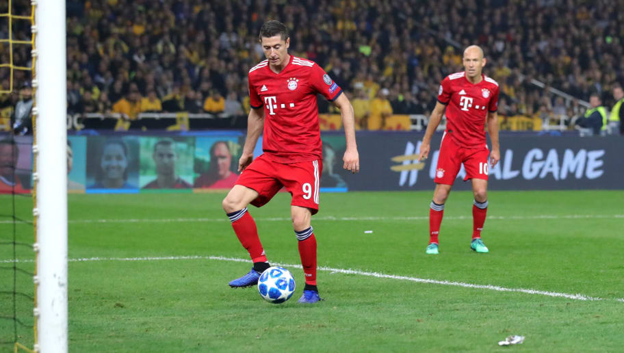 ATHENS, GREECE - OCTOBER 23:  Robert Lewandowski of Bayern Munich scores his team's second goal during the Group E match of the UEFA Champions League between AEK Athens and FC Bayern Muenchen at Athens Olympic Stadium on October 23, 2018 in Athens, Greece.  (Photo by Alexander Hassenstein/Bongarts/Getty Images)