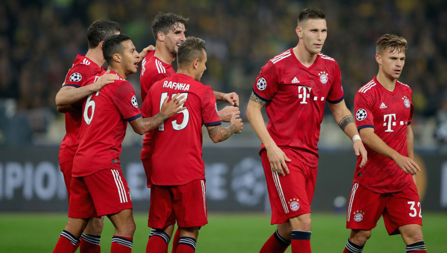 ATHENS, GREECE - OCTOBER 23:  Javier Martinez (3rd L) of Bayern Muenchen celebrates scoring the opening goal with his team mates during the Group E match of the UEFA Champions League between AEK Athens and FC Bayern Muenchen at Athens Olympic Stadium on October 23, 2018 in Athens, Greece.  (Photo by Alexander Hassenstein/Bongarts/Getty Images)