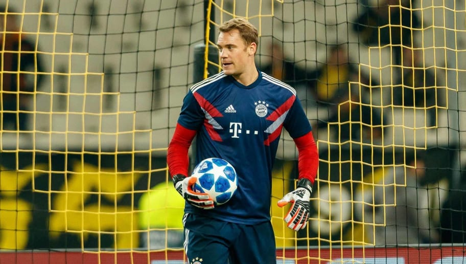 ATHENS, GREECE - OCTOBER 23: Goalkeeper Manuel Neuer of Bayern Muenchen looks on prior the UEFA Champions League Group E match between AEK Athens and FC Bayern Muenchen at Athens Olympic Stadium on October 23, 2018 in Athens, Greece. (Photo by TF-Images/Getty Images)