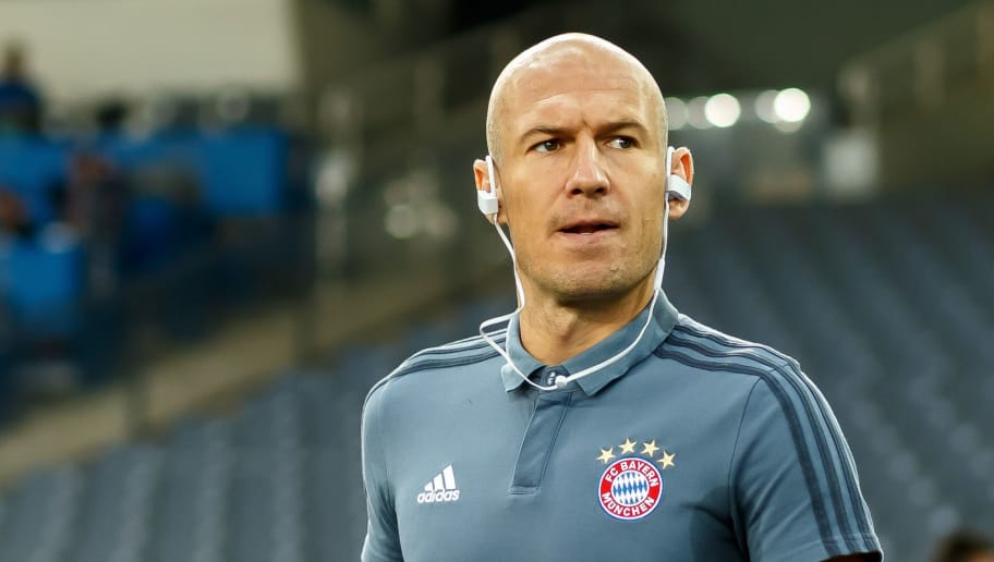 ATHENS, GREECE - OCTOBER 23: Arjen Robben of Bayern Muenchen looks on prior the Group E match of the UEFA Champions League between AEK Athens and FC Bayern Muenchen at Athens Olympic Stadium on October 23, 2018 in Athens, Greece. (Photo by TF-Images/Getty Images)