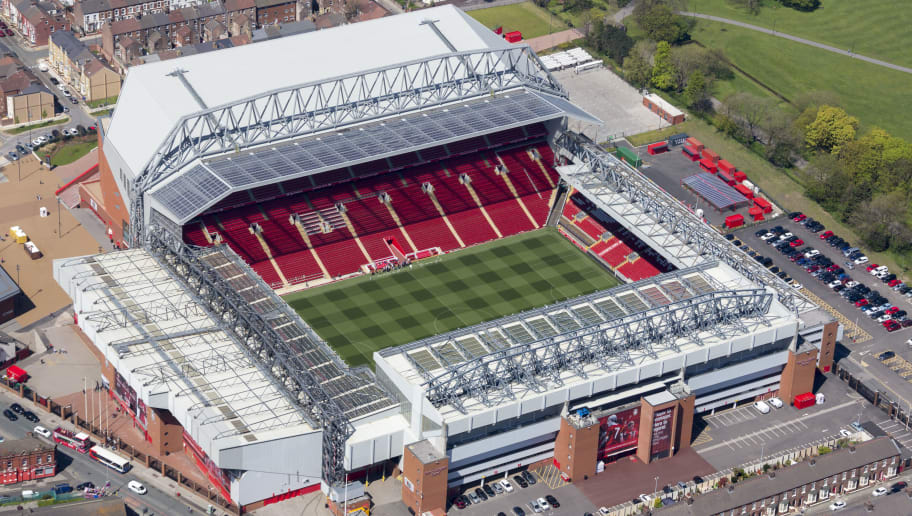 LIVERPOOL, UNITED KINGDOM - MAY, 2018. Aerial photograph of Liverpool football club's home ground - Anfield, on May 5th, 2018, this iconic ground was built in 1892. It is located on the southern side of Stanley Park, 2 miles north east of Liverpool city centre, in this aerial photograph taken by David Goddard.