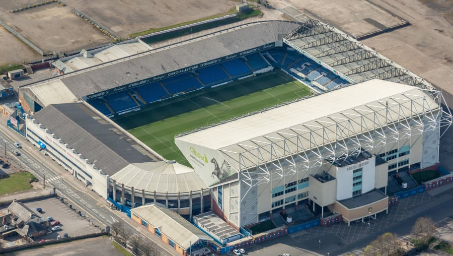 LEEDS, ENGLAND MARCH 26. Aerial photograph of Elland Road Stadium, home of Leeds United Football Club, West Yorkshire on March 26 2017. Located 2 miles south west of the city centre,  between M621 and Windmill Hill. (Photograph by David Goddard/Getty Images)