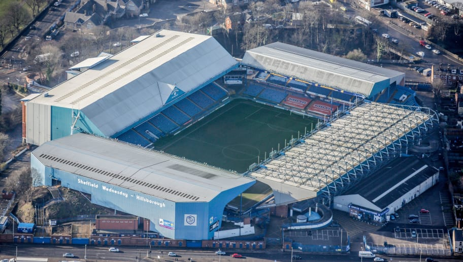 SHEFFIELD, UNITED KINGDOM, MARCH 06. Aerial photograph of Hillsborough Stadium home of Sheffield Wednesday football club, South Yorkshire on March 06, 2015. (Photograph by David Goddard/Getty Images)