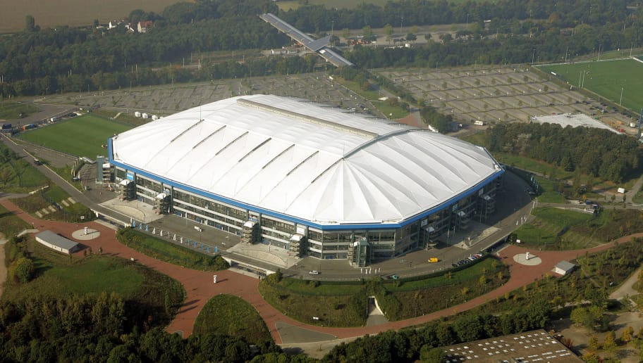 GELSENKIRCHEN, Germany:  Aerial view of Gelsenkirchen's Veltins Arena football stadium (formerly known as the Arena auf Schalke) taken 07 October 2005. The Veltins Arena is one of the 12 stadia in Germany that will host FIFA Football World Cup Germany 2006.  AFP PHOTO DDP/VOLKER HARTMANN     GERMANY OUT  (Photo credit should read VOLKER HARTMANN/AFP/Getty Images)