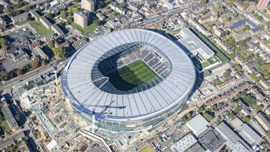 LONDON, ENGLAND. OCTOBER 2018. Aerial view of the new home stadium of Tottenham Hotspur football club on October 9th 2018. This state-of-the-art stadium is located 7 miles north of the city of London, between High Road and Worcester Avenue in the Borough of Haringey. Aerial Photograph by David Goddard