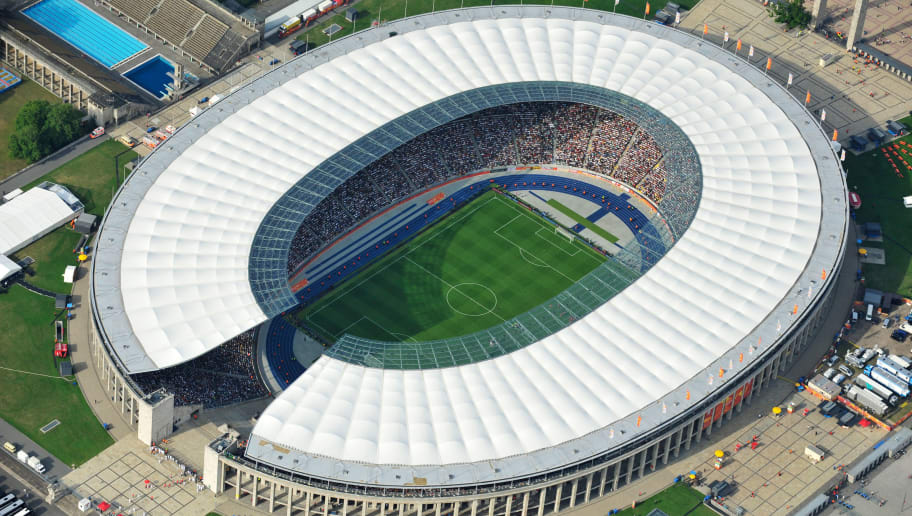 Aerial view taken during the opening match of the FIFA women's football World Cup Germany vs Canada (Group A) shows Berlin's Olympic Stadium on June 26, 2011.   AFP PHOTO / EUROLUFTBILD (Photo credit should read EUROLUFTBILD/AFP/Getty Images)