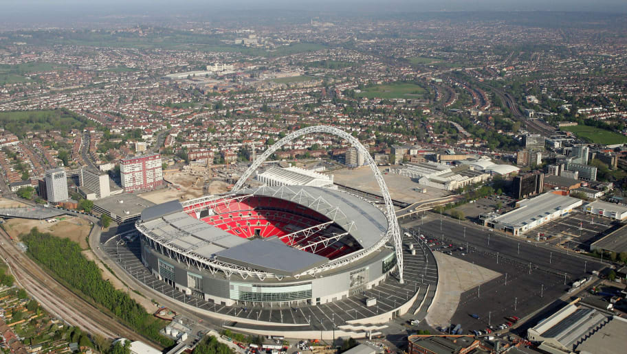 LONDON - APRIL 20:  An Aerial view of the new Wembley Stadium on April 20, 2007 in Wembley, north-west London, England. The stadium has a capacity of 90,000 and will host next month's FA Cup final football match between Chelsea and Manchester United.  (Photo by Mike Hewitt/Getty Images)
