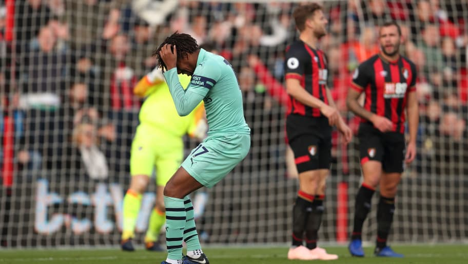 BOURNEMOUTH, ENGLAND - NOVEMBER 25: Alex Iwobi of Arsenal reacts after missing a chance during the Premier League match between AFC Bournemouth and Arsenal FC at Vitality Stadium on November 25, 2018 in Bournemouth, United Kingdom. (Photo by James Williamson - AMA/Getty Images)