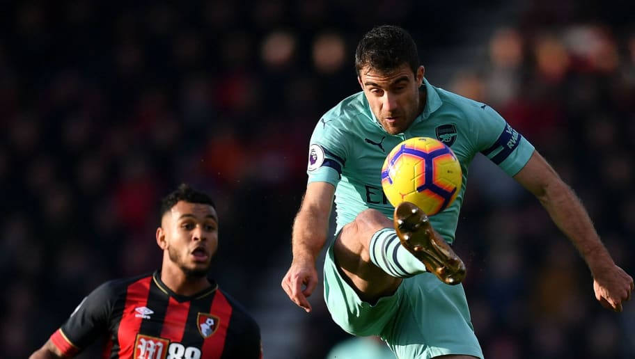 BOURNEMOUTH, ENGLAND - NOVEMBER 25:  Sokratis of Arsenal controls the ball during the Premier League match between AFC Bournemouth and Arsenal FC at Vitality Stadium on November 25, 2018 in Bournemouth, United Kingdom.  (Photo by Dan Mullan/Getty Images)