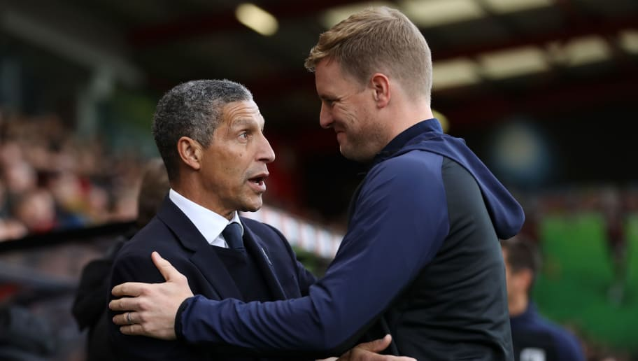 BOURNEMOUTH, ENGLAND - DECEMBER 22:  Eddie Howe, Manager of AFC Bournemouth greets Chris Hughton, Manager of Brighton and Hove Albion prior to the Premier League match between AFC Bournemouth and Brighton & Hove Albion at Vitality Stadium on December 22, 2018 in Bournemouth, United Kingdom.  (Photo by Dan Istitene/Getty Images)