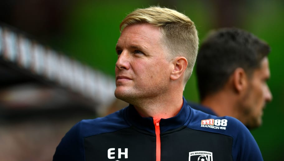 BOURNEMOUTH, ENGLAND - AUGUST 11:  Eddie Howe, Manager of AFC Bournemouth looks on prior to the Premier League match between AFC Bournemouth and Cardiff City at Vitality Stadium on August 11, 2018 in Bournemouth, United Kingdom.  (Photo by Dan Mullan/Getty Images)