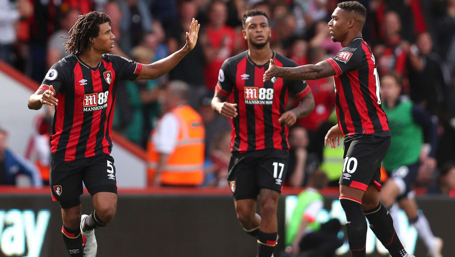 BOURNEMOUTH, ENGLAND - AUGUST 25:  Nathan Ake of AFC Bournemouth celebrates after scoring his team's second goal with Joshua King and Jordon Ibe during the Premier League match between AFC Bournemouth and Everton FC at Vitality Stadium on August 25, 2018 in Bournemouth, United Kingdom.  (Photo by Dan Istitene/Getty Images)