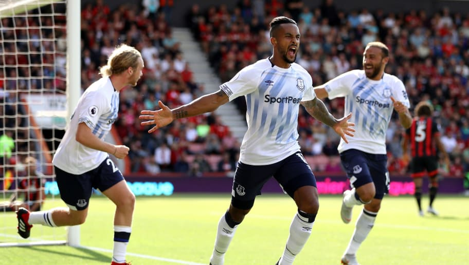 BOURNEMOUTH, ENGLAND - AUGUST 25:  Theo Walcott of Everton celebrates after scoring his team's first goal during the Premier League match between AFC Bournemouth and Everton FC at Vitality Stadium on August 25, 2018 in Bournemouth, United Kingdom.  (Photo by Dan Istitene/Getty Images)