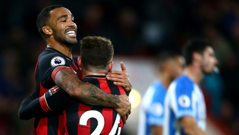 BOURNEMOUTH, ENGLAND - DECEMBER 04:  Ryan Fraser of AFC Bournemouth celebrates with teammate Callum Wilson of AFC Bournemouth after scoring his team's second goal during the Premier League match between AFC Bournemouth and Huddersfield Town at Vitality Stadium on December 4, 2018 in Bournemouth, United Kingdom.  (Photo by Jordan Mansfield/Getty Images)