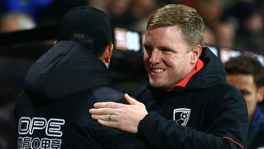 BOURNEMOUTH, ENGLAND - DECEMBER 04:  David Wagner, Manager of Huddersfield Town greets Eddie Howe, Manager of AFC Bournemouth prior to the Premier League match between AFC Bournemouth and Huddersfield Town at Vitality Stadium on December 4, 2018 in Bournemouth, United Kingdom.  (Photo by Jordan Mansfield/Getty Images)