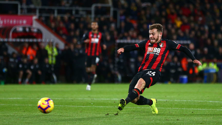 BOURNEMOUTH, ENGLAND - DECEMBER 04:  Ryan Fraser of AFC Bournemouth scores his team's second goal during the Premier League match between AFC Bournemouth and Huddersfield Town at Vitality Stadium on December 4, 2018 in Bournemouth, United Kingdom.  (Photo by Jordan Mansfield/Getty Images)