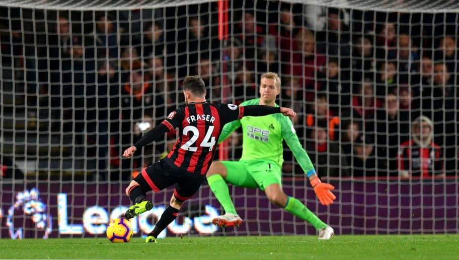 BOURNEMOUTH, ENGLAND - DECEMBER 04:  Ryan Fraser of AFC Bournemouth scores his team's second goal during the Premier League match between AFC Bournemouth and Huddersfield Town at Vitality Stadium on December 4, 2018 in Bournemouth, United Kingdom.  (Photo by Dan Mullan/Getty Images)