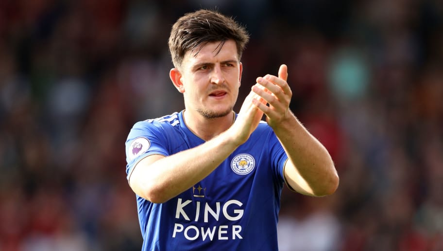 BOURNEMOUTH, ENGLAND - SEPTEMBER 15:  Harry Maguire of Leicester City applauds fans after the Premier League match between AFC Bournemouth and Leicester City at Vitality Stadium on September 15, 2018 in Bournemouth, United Kingdom.  (Photo by Bryn Lennon/Getty Images,)