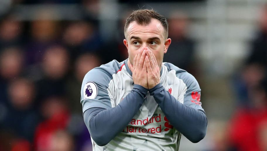 BOURNEMOUTH, ENGLAND - DECEMBER 08: Xherdan Shaqiri of Liverpool reacts during the Premier League match between AFC Bournemouth and Liverpool FC at Vitality Stadium on December 8, 2018 in Bournemouth, United Kingdom.  (Photo by Dan Istitene/Getty Images)