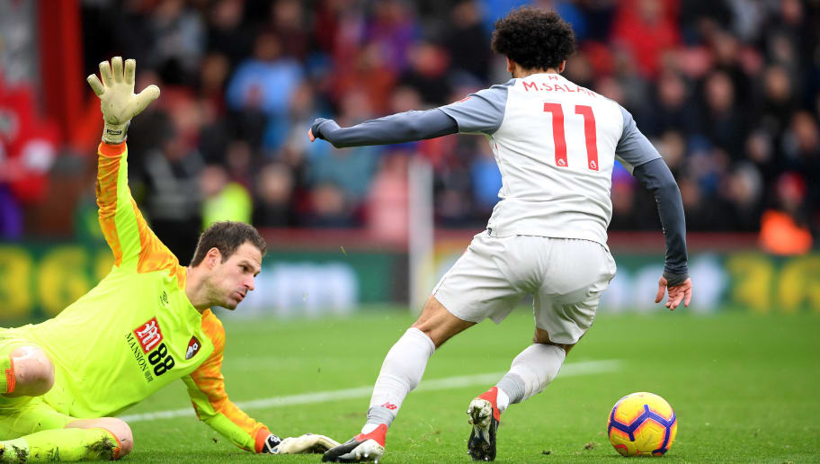 BOURNEMOUTH, ENGLAND - DECEMBER 08:  Mohamed Salah of Liverpool goes past Asmir Begovic of AFC Bournemouth and goes onto to score his sides his hatrick and his sides fouth goal during the Premier League match between AFC Bournemouth and Liverpool FC at Vitality Stadium on December 8, 2018 in Bournemouth, United Kingdom.  (Photo by Mike Hewitt/Getty Images)