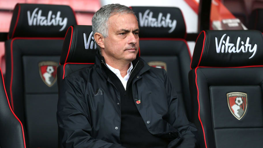BOURNEMOUTH, ENGLAND - NOVEMBER 03:  Jose Mourinho, Manager of Manchester United looks on prior to the Premier League match between AFC Bournemouth and Manchester United at Vitality Stadium on November 3, 2018 in Bournemouth, United Kingdom.  (Photo by Alex Morton/Getty Images)