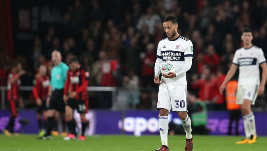 BOURNEMOUTH, ENGLAND - OCTOBER 24:  Lewis Baker of Middlesbrough looks dejected during the Carabao Cup Fourth Round match between AFC Bournemouth and Middlesbrough at Vitality Stadium on October 24, 2017 in Bournemouth, England.  (Photo by Dan Istitene/Getty Images)