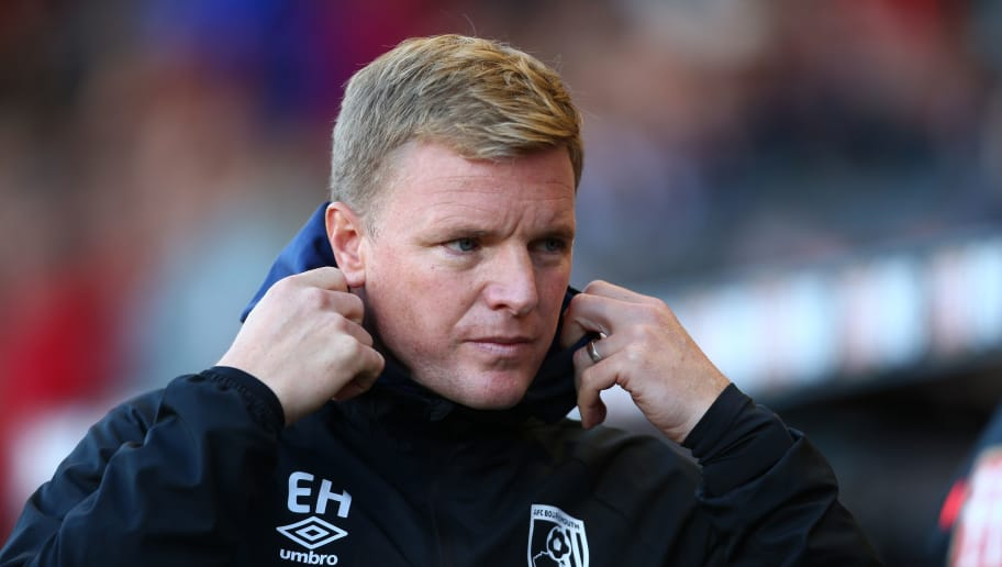 BOURNEMOUTH, ENGLAND - OCTOBER 20:  Eddie Howe, Manager of AFC Bournemouth looks on prior to the Premier League match between AFC Bournemouth and Southampton FC at Vitality Stadium on October 20, 2018 in Bournemouth, United Kingdom.  (Photo by Jordan Mansfield/Getty Images)