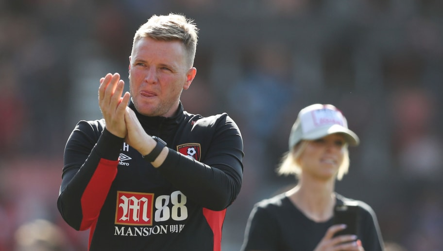 BOURNEMOUTH, ENGLAND - MAY 05:  Eddie Howe, Manager of AFC Bournemouth applauds the fans following the Premier League match between AFC Bournemouth and Swansea City at Vitality Stadium on May 5, 2018 in Bournemouth, England.  (Photo by Dan Istitene/Getty Images)