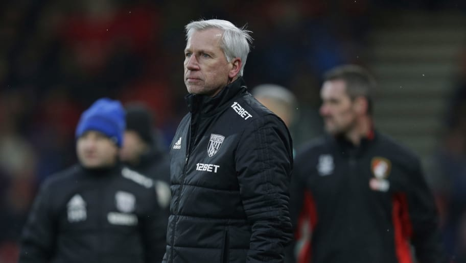 BOURNEMOUTH, ENGLAND - MARCH 17: Alan Pardew coach of West Bromwich Albion looks on during the Premier League match between AFC Bournemouth and West Bromwich Albion at Vitality Stadium on March 17, 2018 in Bournemouth, England. (Photo by Henry Browne/Getty Images)