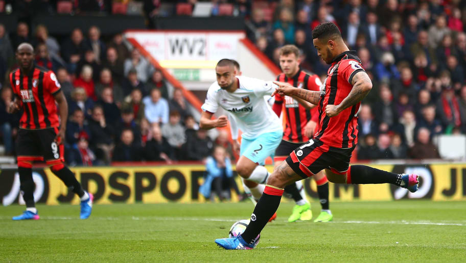 BOURNEMOUTH, ENGLAND - MARCH 11: Joshua King of AFC Bournemouth misses a penalty during the Premier League match between AFC Bournemouth and West Ham United  at Vitality Stadium on March 11, 2017 in Bournemouth, England.  (Photo by Jordan Mansfield/Getty Images)