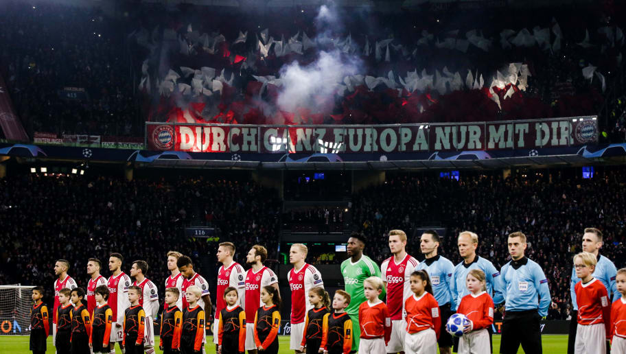 AMSTERDAM, NETHERLANDS - DECEMBER 12: Supporters of FC Bayern Munchen  during the UEFA Champions League  match between Ajax v Bayern Munchen at the Johan Cruijff Arena on December 12, 2018 in Amsterdam Netherlands (Photo by Erwin Spek/Soccrates/Getty Images)