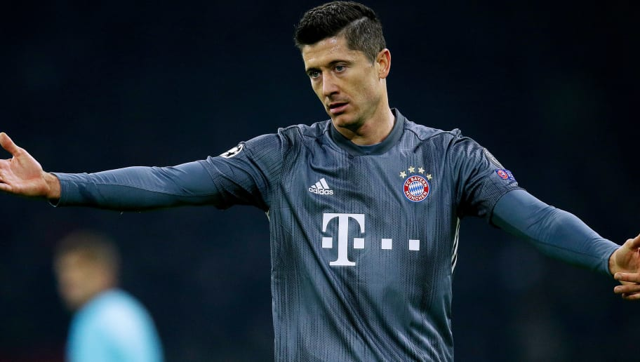 AMSTERDAM, NETHERLANDS - DECEMBER 12: Robert Lewandowski of Bayern Munchen  during the UEFA Champions League  match between Ajax v Bayern Munchen at the Johan Cruijff Arena on December 12, 2018 in Amsterdam Netherlands (Photo by Peter Lous/Soccrates/Getty Images)
