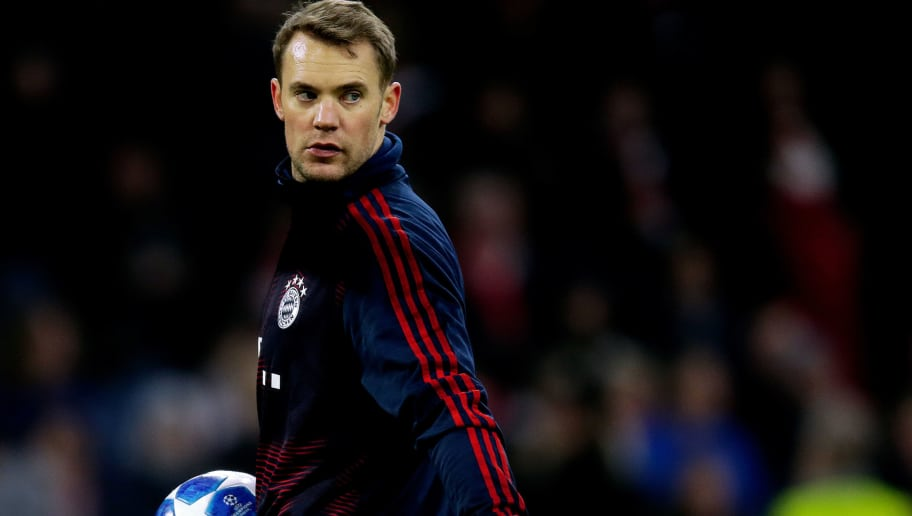 AMSTERDAM, NETHERLANDS - DECEMBER 12: Manuel Neuer of Bayern Munchen  during the UEFA Champions League  match between Ajax v Bayern Munchen at the Johan Cruijff Arena on December 12, 2018 in Amsterdam Netherlands (Photo by Peter Lous/Soccrates/Getty Images)