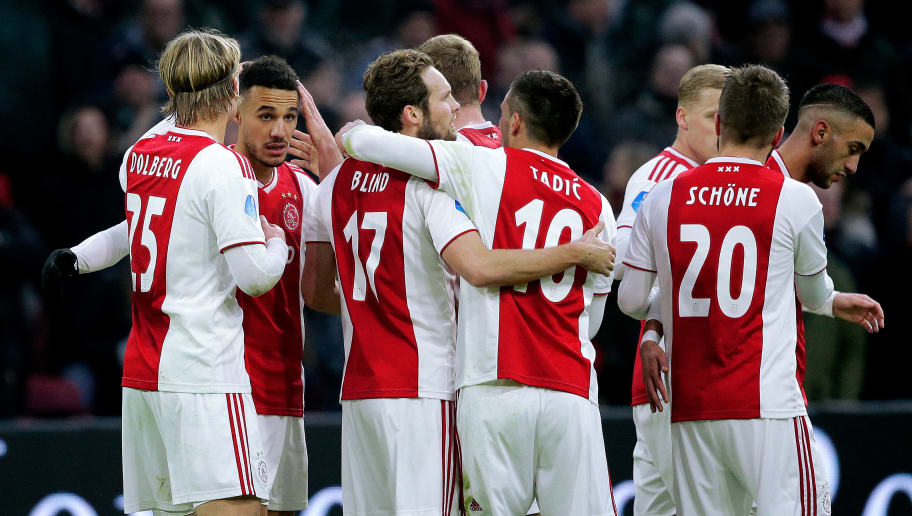 AMSTERDAM, NETHERLANDS - DECEMBER 16: Hakim Ziyech of Ajax celebrates 2-0 with Donny van de Beek of Ajax, Noussair Mazraoui of Ajax, Daley Blind of Ajax, Kasper Dolberg of Ajax, Matthijs de Ligt of Ajax, Dusan Tadic of Ajax during the Dutch Eredivisie  match between Ajax v De Graafschap at the Johan Cruijff Arena on December 16, 2018 in Amsterdam Netherlands (Photo by Erwin Spek/Soccrates/Getty Images)