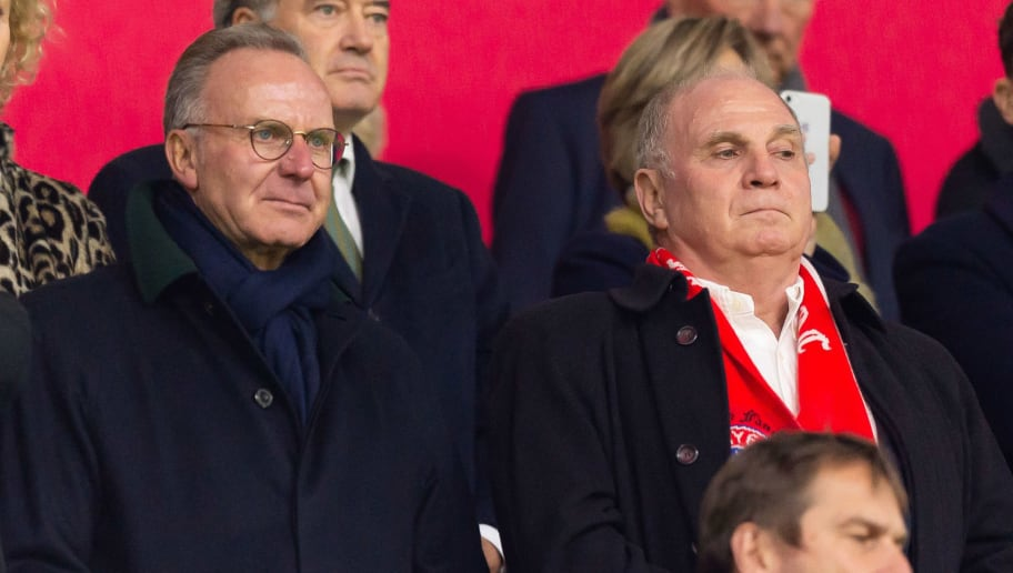 AMSTERDAM, NETHERLANDS - DECEMBER 12: Karl-Heinz Rummenigge of Bayern Muenchen and Uli Hoeness of Bayern Muenchen looks on during the UEFA Champions League Group E match between Ajax and FC Bayern Muenchen at Johan Cruyff Arena on December 12, 2018 in Amsterdam, Netherlands. (Photo by TF-Images/TF-Images via Getty Images)