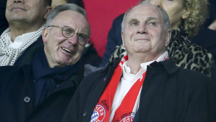 AMSTERDAM, NETHERLANDS - DECEMBER 12: Karl-Heinz Rummenigge and Uli Hoeness of Bayern Munich during the UEFA Champions League Group E match between Ajax and FC Bayern Munich at Johan Cruyff Arena on December 12, 2018 in Amsterdam, Netherlands. (Photo by Jean Catuffe/Getty Images)