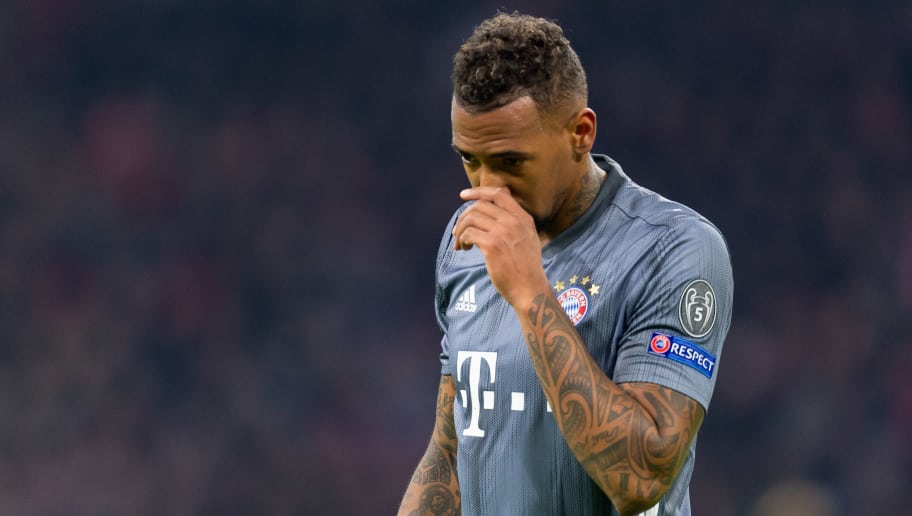 AMSTERDAM, NETHERLANDS - DECEMBER 12: Jerome Boateng of Bayern Muenchen looks on during the UEFA Champions League Group E match between Ajax and FC Bayern Muenchen at Johan Cruyff Arena on December 12, 2018 in Amsterdam, Netherlands. (Photo by TF-Images/TF-Images via Getty Images)