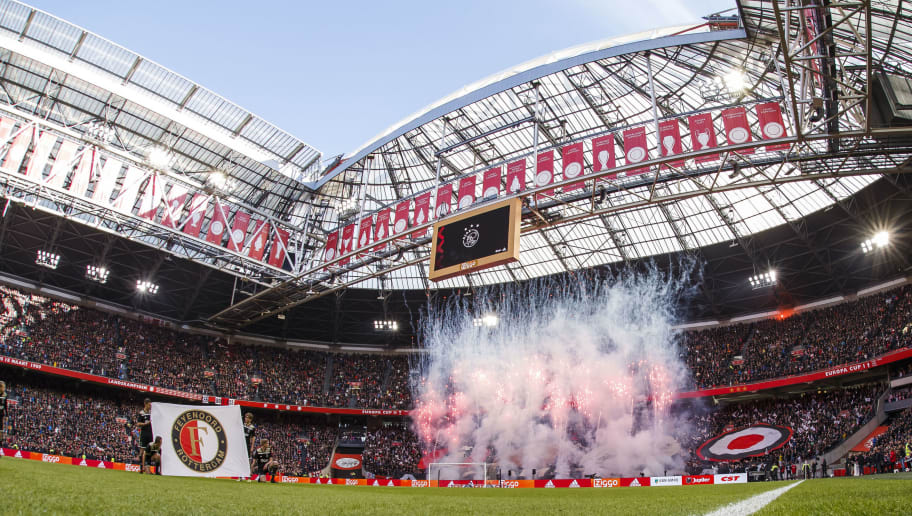 AMSTERDAM, NETHERLANDS - OCTOBER 28: stadium of Ajax during the Dutch Eredivisie  match between Ajax v Feyenoord at the Johan Cruijff Arena on October 28, 2018 in Amsterdam Netherlands (Photo by Erwin Spek/Soccrates/Getty Images)