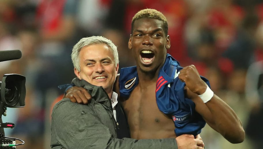 STOCKHOLM, SWEDEN - MAY 24: Manchester United manager Jose Mourinho celebrates with Paul Pogba of Manchester United during the UEFA Europa League Final match between Ajax and Manchester United at Friends Arena on May 24, 2017 in Stockholm, Sweden. (Photo by Ian MacNicol/Getty Images)